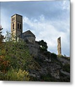 Church And Castle In Puente De Montanana  Metal Print