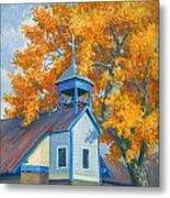Church And Cottonwoods Metal Print