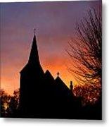 Church And Graveyard At Dusk Metal Print