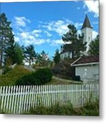 Church And Pickets Metal Print
