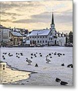 Church By Tjornin Pond Metal Print