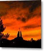 Church Cross Lit By Tucson Sunset Metal Print