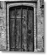 Church Door Bw Metal Print