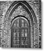 Church Door Monochromatic Metal Print by Antony McAulay