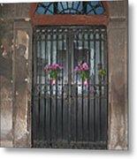 Church Doors And Flowers Metal Print