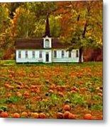 Church In A Pumpkin Patch Metal Print