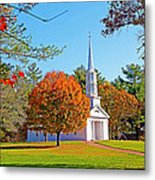 Church In Autumn Metal Print