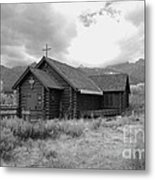 Church In Black And White Metal Print