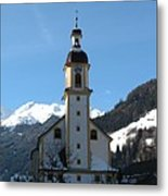 Church In The Austrian Alps Metal Print