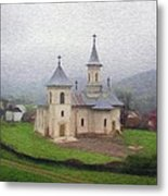 Church In The Mist Metal Print