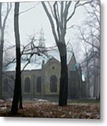 Church In The Misty Woods Metal Print