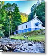 Church In The Mountains By The River Metal Print