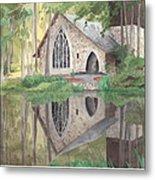Church In The Woods Watercolor Portrait Metal Print
