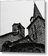 Church Of The Assumption Of Mary In Bossost - Abse And Tower Bw Metal Print