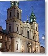 Church Of The Holy Cross At Night In Warsaw Metal Print