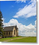 Church On A Hill In A Rural Setting Metal Print