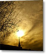 Church Steeple Clouds Parting Metal Print