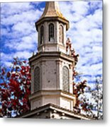 Church Steeple In Autumn Blue Sky Clouds Fine Art Prints As Gift For The Holidays Metal Print