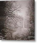 Church Steeple In The Snow Metal Print