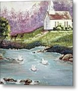 Church With Pond Metal Print