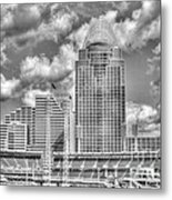 Cincinnati Ballpark Clouds Bw Metal Print by Mel Steinhauer