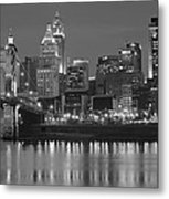 Cincinnati Black And White Night Metal Print