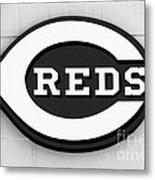 Cincinnati Reds Sign Black And White Picture Metal Print