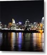 Cincinnati Skyline At Night From Covington Kentucky Metal Print