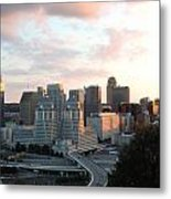 Cincinnati Skyline At Sunset Form The Top Of Mount Adams 2 Metal Print