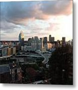 Cincinnati Skyline At Sunset Form The Top Of Mount Adams Metal Print