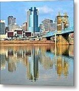 Cincinnati Skyline Reflects Metal Print