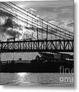 Cincinnati Suspension Bridge Black And White Metal Print by Mary Carol Story