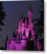Cinderella Castle Illuminated In Pink Glow Metal Print
