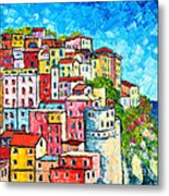 Cinque Terre Italy Manarola Colorful Houses  Metal Print
