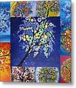 Circle Tree Collage Metal Print