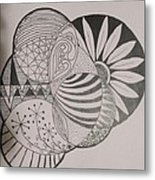 Circles Of Zen Tangle Metal Print