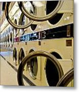 Circular Doors On Laundromat Washing Machines Metal Print