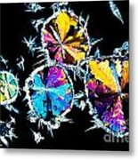 Citric Acid Crystals In Polarized Light Metal Print