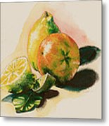 Citrus Under The Sun Light Metal Print by Alessandra Andrisani