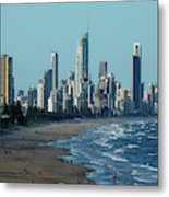 City At The Waterfront, Surfers Metal Print