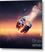 City Destroyed By Meteor Shower Metal Print
