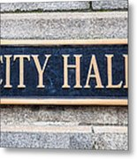 City Hall Municipal Sign In Chicago Metal Print by Paul Velgos