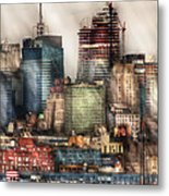 City - Hoboken Nj - New York Skyscrapers Metal Print