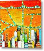 New York City Skyline In Orange Metal Print