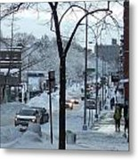 City In Snow Metal Print