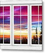 City Lights Sunrise View Through White Window Frame Metal Print