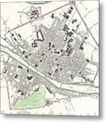 City Map Or Plan Of Florence Or Firenze Metal Print