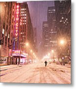 City Night In The Snow - New York City Metal Print