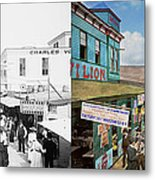 City - Ny - The Bowery 1900 - Side By Side Metal Print