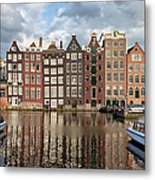 City Of Amsterdam At Sunset In Netherlands Metal Print